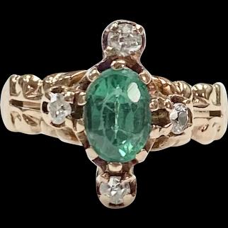 Victorian  Demantoid Garnet & Diamond Ring 14K Gold