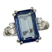 Vintage Lab Alexandrite & Spinel Ring 6.63 Carat tgw 10K White Gold