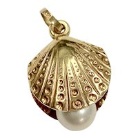 Scallop Shell & Cultured Pearl Vintage Charm 14K Gold
