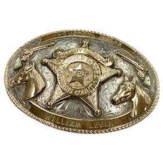 Custom Belt Buckle 10K Gold & Sterling Texas Deputy Sheriff Mounted Posse, Nelson Silvia