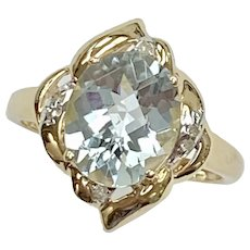 Aquamarine & Diamond Ring 3.09 TGW 14K Gold