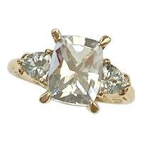 Aquamarine Three-Stone Ring 2.40 CTW Cushion & Trillion 10K Gold