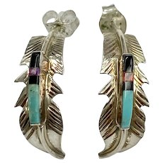 Native American Feather Earrings Colorful Intarsia & Sterling Silver