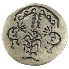 Kokopelli Maize Harvest Pendant/Brooch Sterling Silver