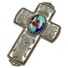 Native American Cross Pendant/Brooch Colorful Intarsia Sterling Silver