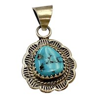 Native American Pendant Turquoise & Sterling Silver