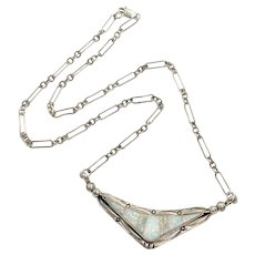 Navajo Crafted Necklace Opal Intarsia & Sterling Silver