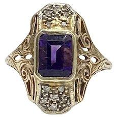 Edwardian Amethyst & Diamond Ring 1.28 ctw, 10K Two-Tone Gold