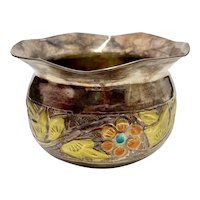 Sterling Silver Small Floral Bowl Enamel & Mixed Metal Accent