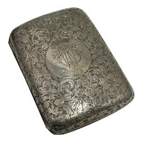 Edwardian Cigarette Case Sterling Silver Hand Chased