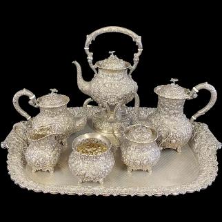 Sterling Silver Repousse Tea Service 7 Piece Set w/Tray A.G. Schultz