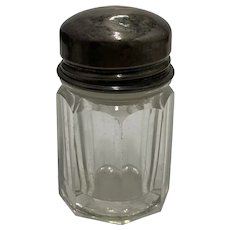 Antique Cut Glass Jar Sterling Silver Lid