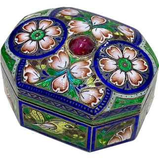 Colorful Champlevé Enamel Box Gold Gilt on Sterling Silver, Tourmaline Accent