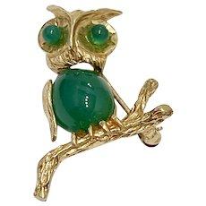 Jeweled OWL Vintage Brooch 14K Gold & Chrysoprase