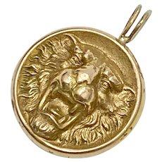 Victorian Lion Head Pendant 10K Gold