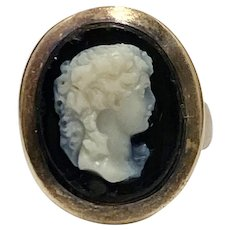 Victorian Hard Stone / Agate Cameo Ring 10 & 14K Gold