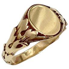 Victorian Revival Vintage Signet Ring 10k Gold