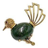 Jeweled Ornamental Bird Brooch / Pin 14K Gold