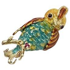 Colorful Quail Bird Pin/Brooch 14K Gold, Ruby & Enamel