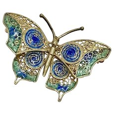 Butterfly Vintage Brooch 14K Gold Filigree Colorful Enamel