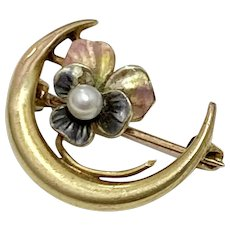 Victorian Crescent Moon & Pansy Pin 10K Gold, Seed Pearl & Enamel
