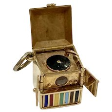 Record Player Moving Vintage Charm 14K Gold Colorful Enamel, Walter Lampl