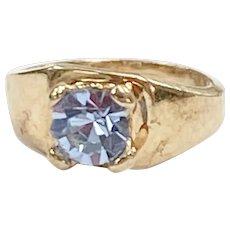 Birthstone Ring CHARM March Aquamarine 10K Gold