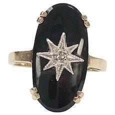 Vintage Onyx & Diamond Starburst Ring 10K Two-Tone Gold