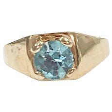 Birthstone Ring CHARM December Blue Zircon 10K Gold