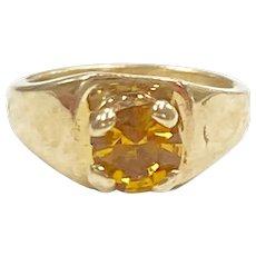 Birthstone Ring CHARM November Golden Topaz 10K Gold