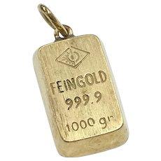 Bullion Bar Charm / Pendant 999.9 Fine Gold