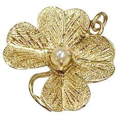 Four Leaf Clover Shamrock Vintage Charm 14K Gold & Cultured Pearl