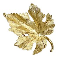 Grape Leaf Brooch/Pin 14K Gold Three-Dimensional