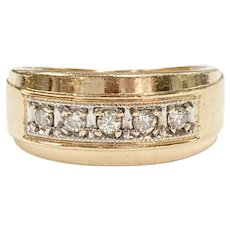 Vintage Wide Diamond Band Ring .10 ctw 14K Gold