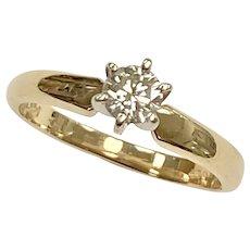 Vintage Diamond Solitaire Ring .25 Carat VS-K, 14K Two-Tone Gold