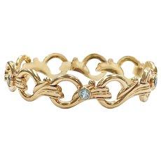 Retro Vintage Bracelet 10K Rose Gold & Blue Topaz, Esemco