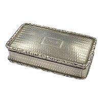Nathaniel Mills Sterling Silver Snuff Box circa 1835