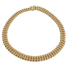 """Wide Double Link Statement Necklace 14K Gold 56.6 Grams, 16.5"""" Length"""
