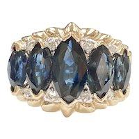 Marquis Sapphire & Diamond Ring 3.68 Carats tgw 14K Two-Tone Gold