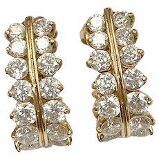 Faux Diamond J Hoop Earrings 3.72 Carats tw CZ, 14K Gold