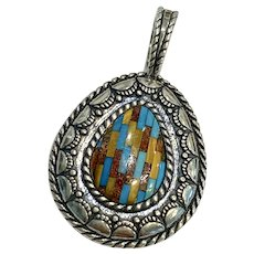 South-West Vintage Pendant Sterling Silver Colorful Intarsia, Relios