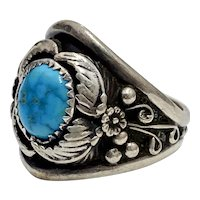 Navajo Crafted Ring Sterling Silver & Turquoise, Signed