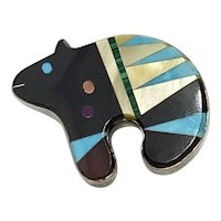 Bear Totem Vintage Pendant Colorful Intarsia Sterling Silver, Signed