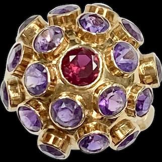 Vintage Sputnik Ring 18K Gold Ruby & Amethyst 4.50 Carats tgw