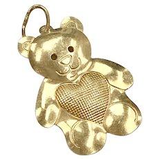 Teddy Bear Vintage Charm 14K Gold Three-Dimensional
