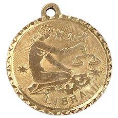 Libra Vintage Zodiac Charm 14K Gold