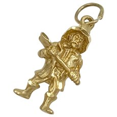 Firefighter Vintage Occupation Charm 14K Gold Three-Dimensional