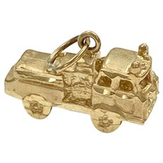 Fire Truck Vintage Charm 14K Gold Three-Dimensional