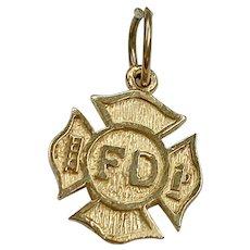 Fire Department Maltese cross Charm 14K Gold