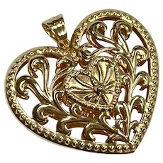Large Ornate Puffy Heart Pendant, Pierced Design 14K Gold